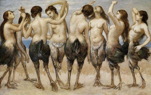 Hans Thoma 1886 Acht tanzende Frauen in Vogelkörpern